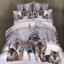 Queen Size Bed Doona/Duvet Cover Set Quilt Cover Pillow Cases Brown Wolf Linen