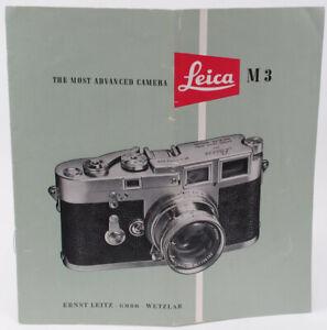 Original Vintage Leica M3 Most Advanced Camera Sales Brochure  -1955 - English