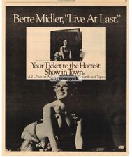 1977 Bette Midler Live At Last Vtg Album Promo Print Ad