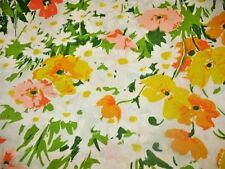 Vintage 1970's Lady Pepperell Full Flat Sheet Poppies & Daisies Orange Yellow