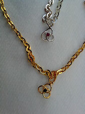 925 STERLING SILVER or 22ct GOLD CLAD, SAPPHIRE ANKLET ON S.S/25cm CHAIN No7H