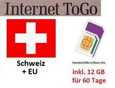 Schweiz Daten Sim Karte 12 GB 60 Tage (Standard/Micro/Nano)
