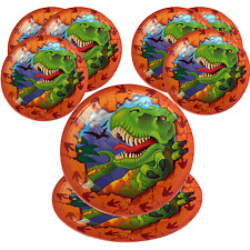 8 Dino-mite Party Plates|Dinosaur Party|Paper Party Plates|Party Plates