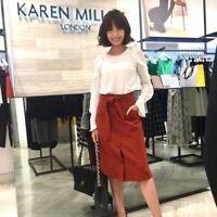 Karen Millen Fluted Sleeve Frill Ruffle Party Blouse Shirt Top 10 to 12 TA211
