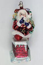 Christopher Radko, Secret Santa on Chimney, Glass Ornament 7� W/Box #93