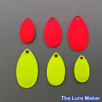 French Spinner Blades Flo Red & Chartreuse 10 or 25  Sizes 1-4  Fishing  Lures