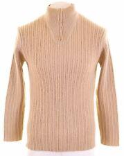 TIMBERLAND Mens Zip Neck Jumper Sweater Small Khaki  IF06