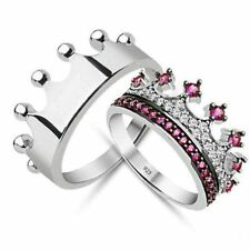 Pink Tourmaline Queen And King Silver Royal Wedding Engagement Crown Couple Band