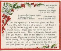 VINTAGE CHRISTMAS SCANDINAVIAN COOKIES RECIPE 1 WINTER SNOW GARDEN SQUIRREL CARD