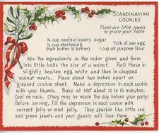 VINTAGE CHRISTMAS SCANDINAVIAN COOKIES RECIPE 1 GINGERGREAD TEA POT CUP ART CARD