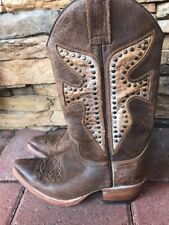 FRYE Women's Brown Leather Pull On Cowboy Western Boots Size 6M