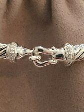 David Yurman 5mm  Cable Buckle Diamond Bracelet  Size Medium