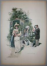 """Gärtnerei, Blumenverkäuferin. """"Kinder des Frühlings"""" Stich um 1895 ( W.Zehme )"""