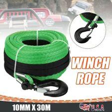 Synthetic Winch Rope With Hook 38 X 100ft 24000lbs Recovery Cable 4wd Atv Suv
