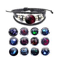 12pcs Vintage Zodiac 12 Constellations Leather Alloy Charm Bracelets Jewelry