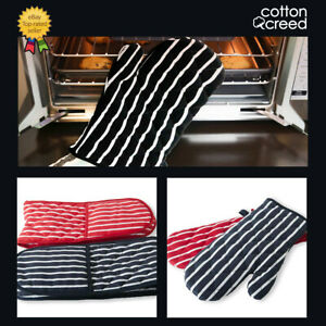 Oven Glove Mitts Mittens 100% Cotton Quilted Kitchen Cooking Heat Resistance