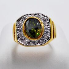 MEN RING GREEN PERIDOT 24K YELLOW GOLD FILLED GP SOLITAIRE HIPHOP LUXURY SIZE 7