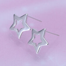 Star Hollow Out Ear Stud 925 Sterling Silver Plated Women Earrings Jewelry Gift