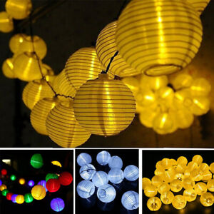 LED Solar Power Chinese Lantern Fairy String Lights Garden Party Waterproof Lamp