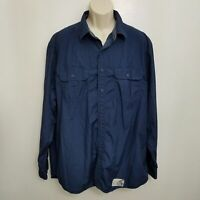 Old Navy Mens Button Up Shirt XL Blue Long Sleeve Western Pockets Cotton