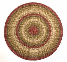 "Homespice ABERDEEN Braided Jute 15"" Round Placemat Rusty Red, Tan, Greens"