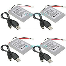 4x Battery Pack For SONY PS3 SLIM Controller Replacement + 4x USB Charger Cable