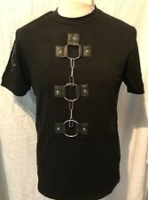 Black SDL Cotton T Shirt  With Metal Rings