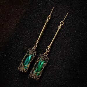 Antique Customs Fire Green Emerald Gold Plated Hook Dangle Earrings for Women