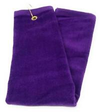 PURPLE Cotton Golf Towel High Quality Tri-Fold with Grommet & Hook for Golf Bag