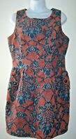 Anthropologie TULLE Shift Dress Women L Tapestry Jacquard Print In Salmon & Blue