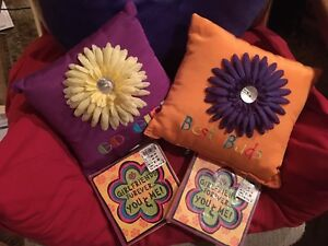2 Pillows Girls Best Friend BFF Orange Purpl Flower MOP BED ROOM DECOR Grad GIFT