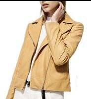 Massimo dutti 100% genuine leather jacket. Size small. Color Yellow.