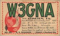 Vintage QSL HAM Radio Card W3GNA Used Posted 1938 Abington PA.