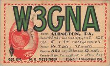 Vintage QSL HAM Radio Card W3GNA Used Posted 1938 Abington PA.