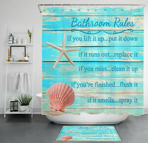 Vintage Rustic Wooden Planks Shell Starfish Shower Curtain Set Bathroom Decor
