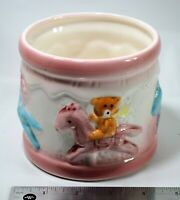 Vintage Baby Planter Bears Riding Horse Carousel Pink White Ceramic Pottery Vase