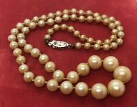 """14k Gold Estate Vtg Necklace Graduated Faux Pearl Strand Knotted White Gold 19"""""""