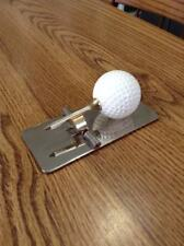 GOLF BALL TEE NOTE DESK TOP CLIP TRAP MEMO PAPER OFFICE LETTER HOLDER GOLD TONE