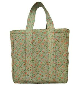 Up-Cycled Tote Shoulder Hand Bag made of 100% Pure Silk Printed Vintage Sari