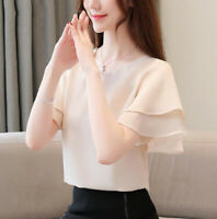 Chiffon Tops Short Sleeve Women Summer Ladies Korean Casual Loose Blouse T Shirt