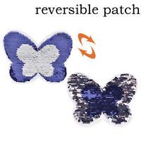 Schmetterling Reversible Pailletten Patch für Kleidung gestickte Applikation SA