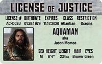 Justice LEAGUE of AMERICA Aquaman Jason Momoa Plastic ID  card Drivers License