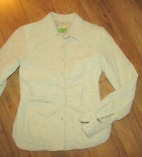 JOHN CARLISLE women's XS leather jacket Bone suede textured shirt style EUC CUTE
