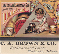 Palmer Mass 1880's C Brown Hardware Store Beyer Lead Paint Victorian Trade Card