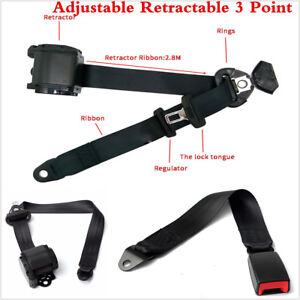 Black 3 Point Retractable Auto Car Safety Seat Belt Buckle Universal Adjustable