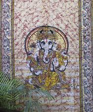 Double Indie Lord Ganesh Batik tapisserie hippie bohème Tenture murale