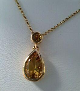 9ct Yellow Gold & Citrine Pear Drop Pendant & Chain
