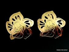 Vergoldete Designer TRIFARI sign. Blätter Ohrclips Ohrringe, Orecchini, Earrings