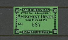 30 - State Revenue Oregon $50 1948-49 Amusement Device Tax Stamp, Mint, NH.