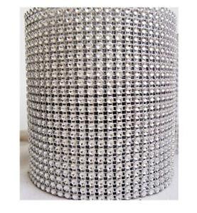 """4.5"""" Diamond Mesh Rhinestone Crystal Ribbon Wrap 1yd 5yd 10yd Table decoration"""